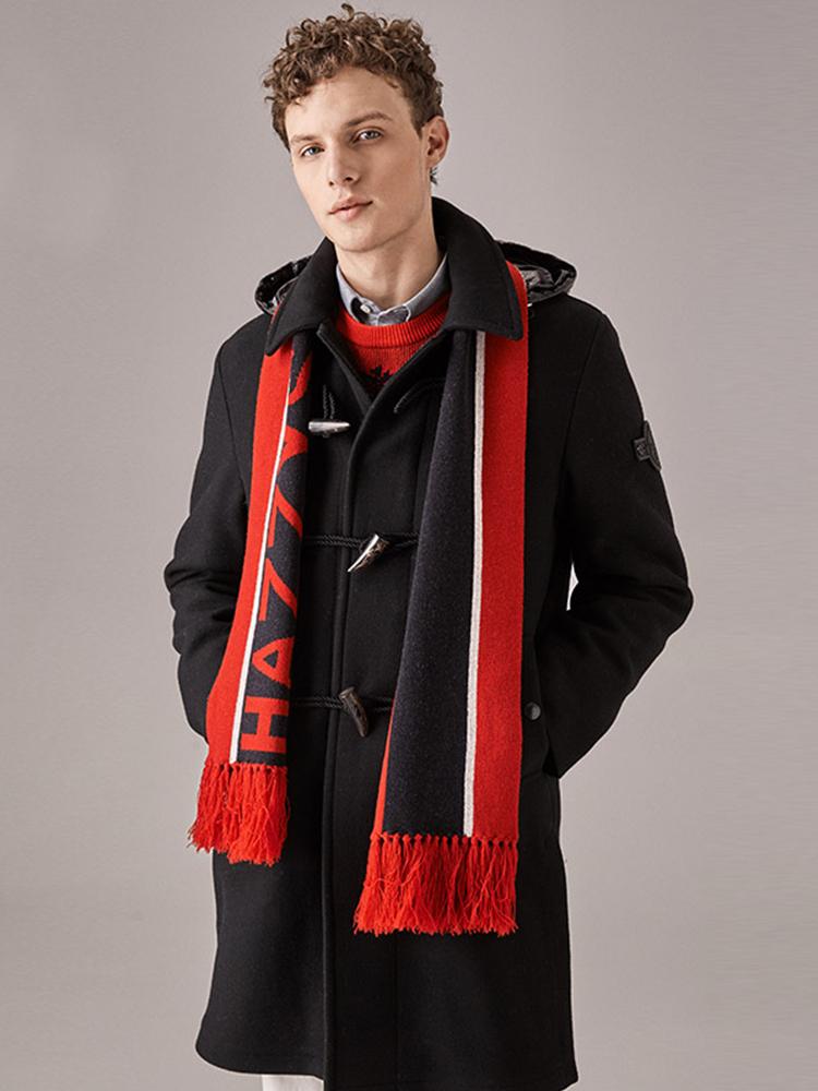 羊毛羽绒双保暖连帽大衣