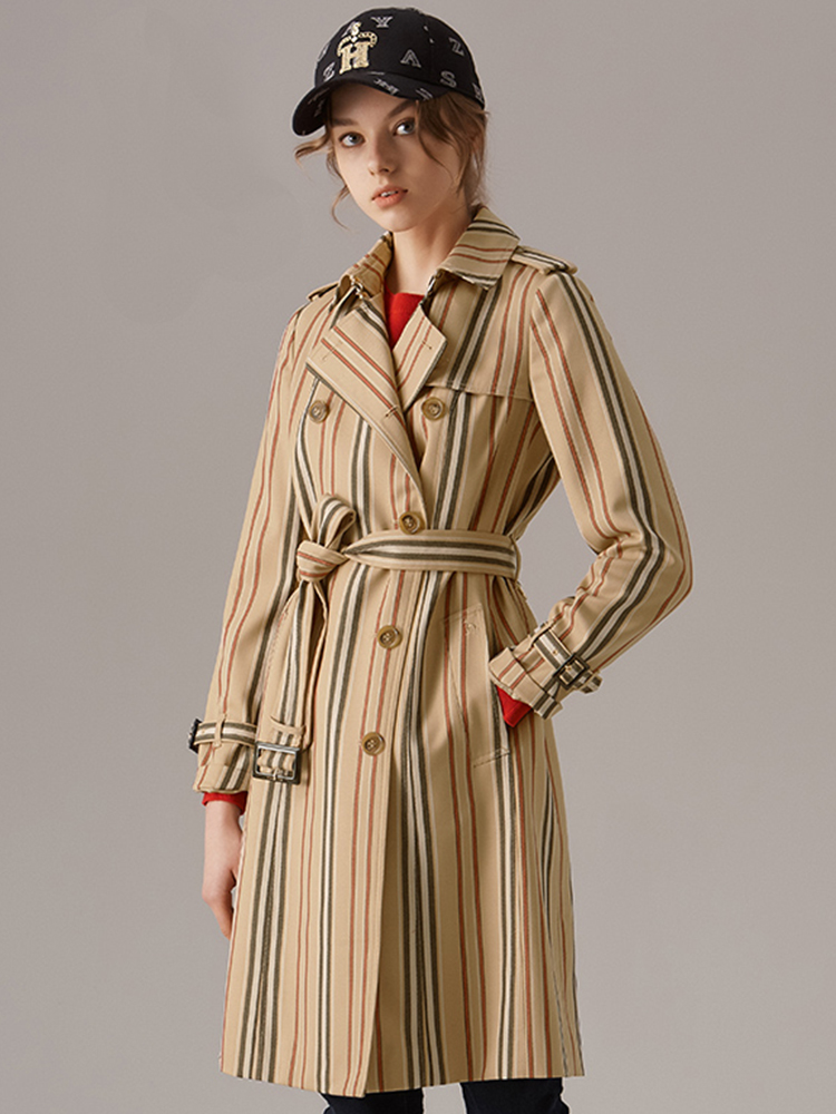 骑士桥专利条纹羊毛混纺风衣