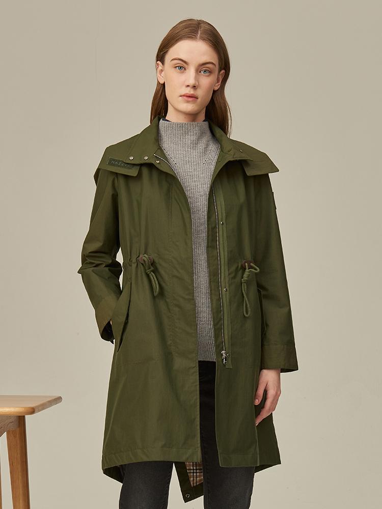 素色宽松带帽中长夹克