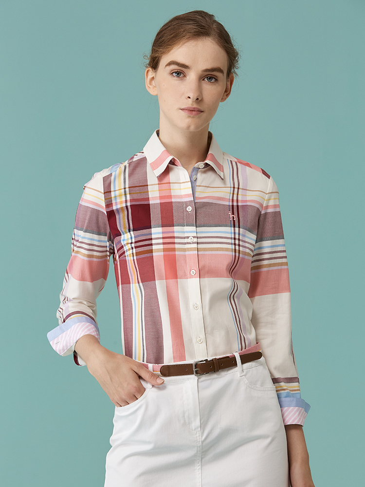 全棉斜纹超大格长袖衬衫