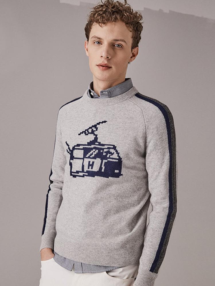 高山滑雪主题美丽诺羊毛衫